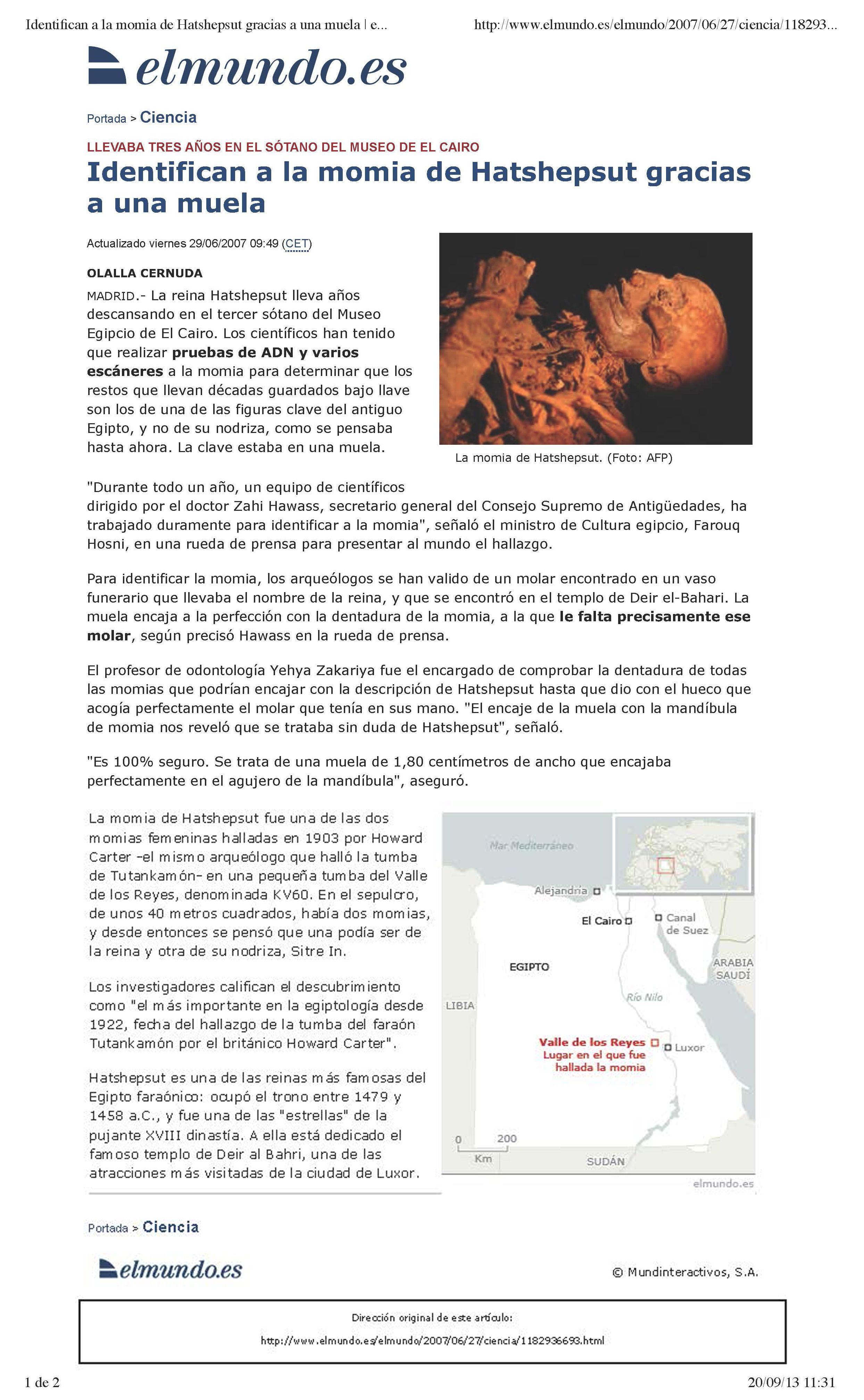 """""""Identifican a la momia de Hatshepsut gracias a una muela."""" El Mundo , 29/06/2007"""
