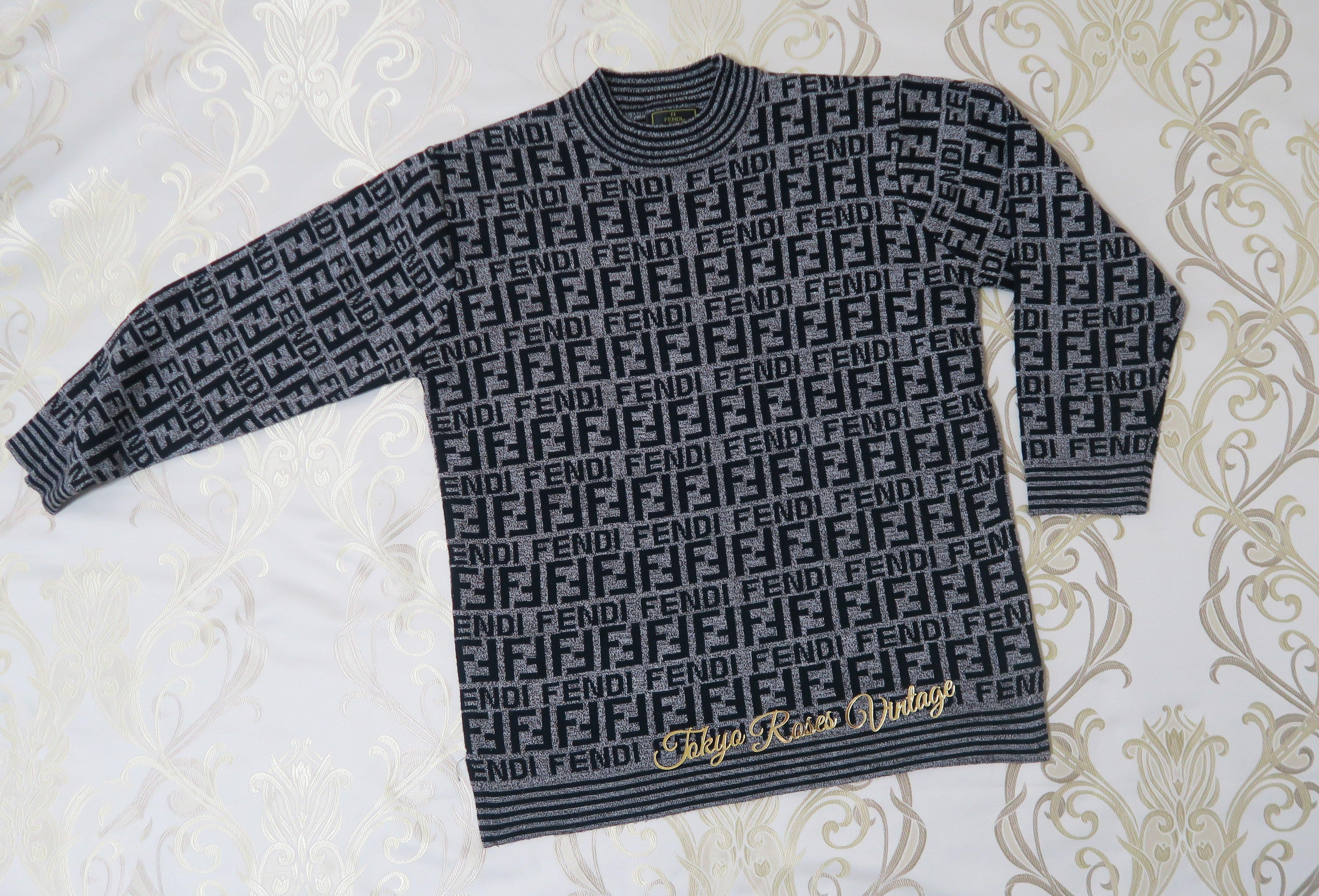 b44367c89b715e Fendi FF Logo Print Grey Knit Sweater | Vintage Fendi FF logo Zucca ...