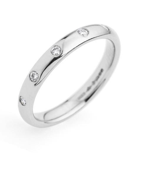 3mm Platinum Diamond Set Court Shape Wedding Band.