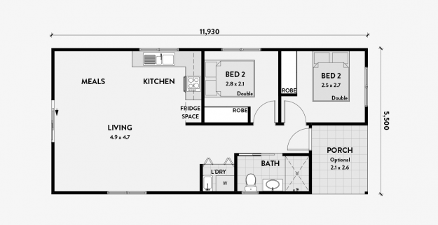Tulip 2br 60m2 Granny Flat Plans Small Floor Plans Small House Plans