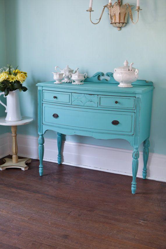 antique shabby chic buffet turquoise aqua blue distressed beach cottage coastal cabinet
