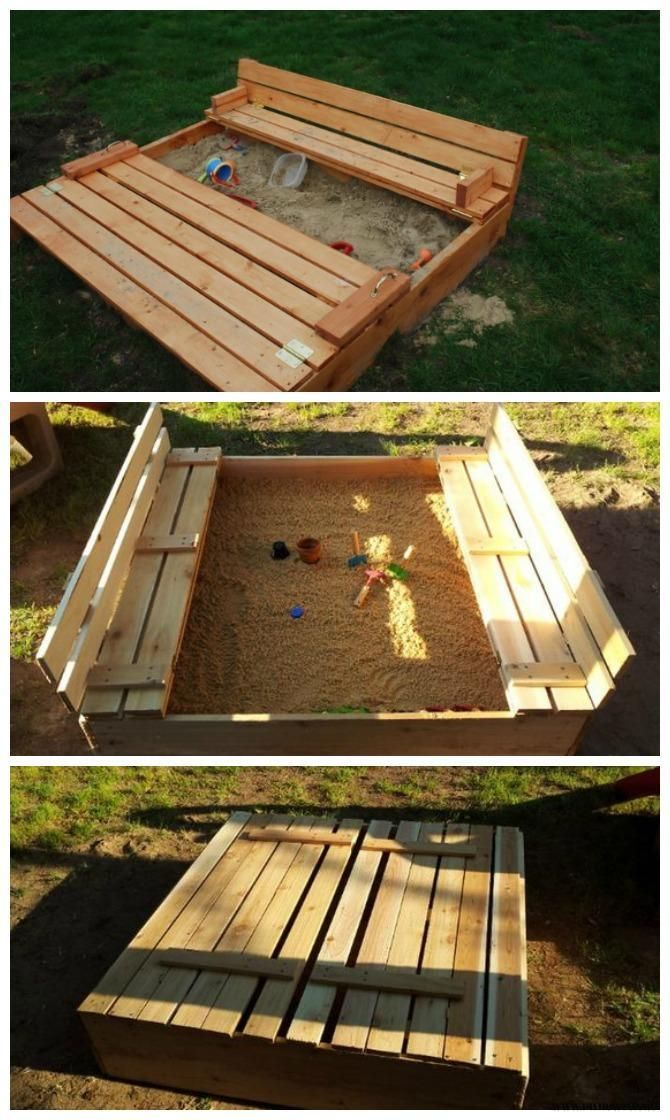 Diy Sandbox With Bench Cover Diy Sandbox Projects Diyhowto