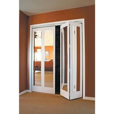 Impact Plus 30 In X 80 In Mir Mel Mirror Solid Core Primed Mdf Full Lite Interior Closet Wood Bi Fold Door With White Trim Bmmp342 3080w The Home Depot In 2020 Mirrored Bifold Closet