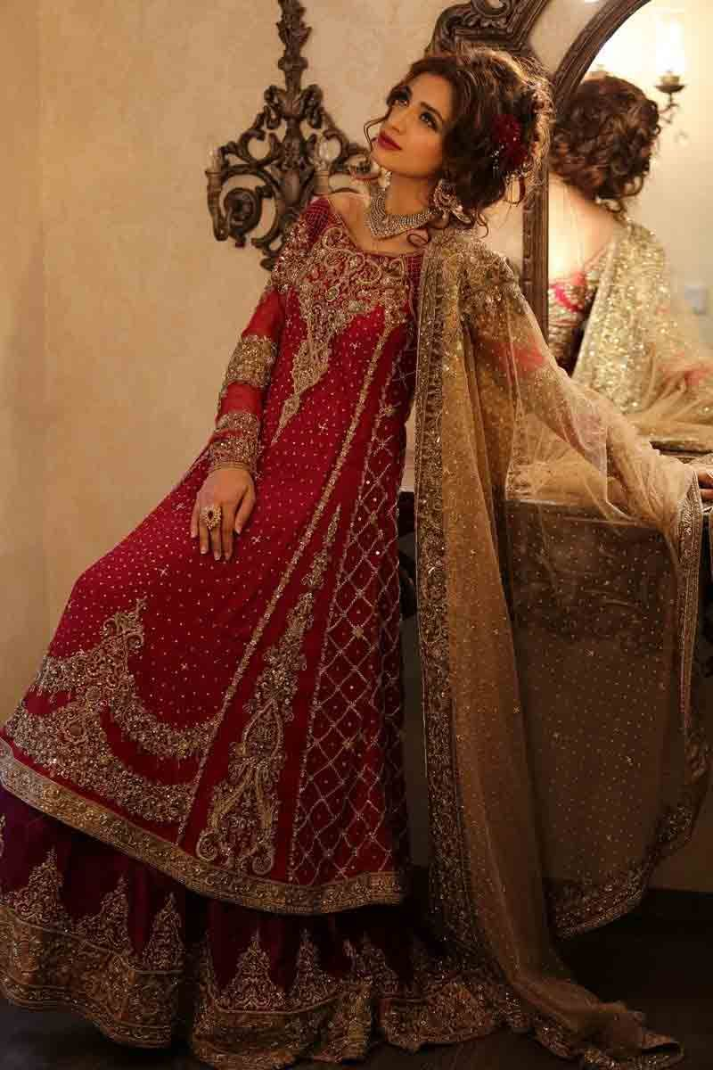 d712c5dd242 Best long frock style Pakistani bridal dress in red and golden color  combinations 2018