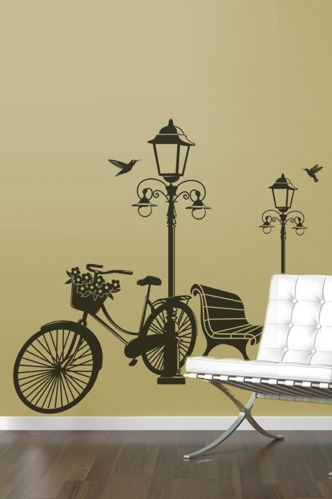 Lamp and Bicycle-Wall Decals | Wall decals, Bicycling and Walls