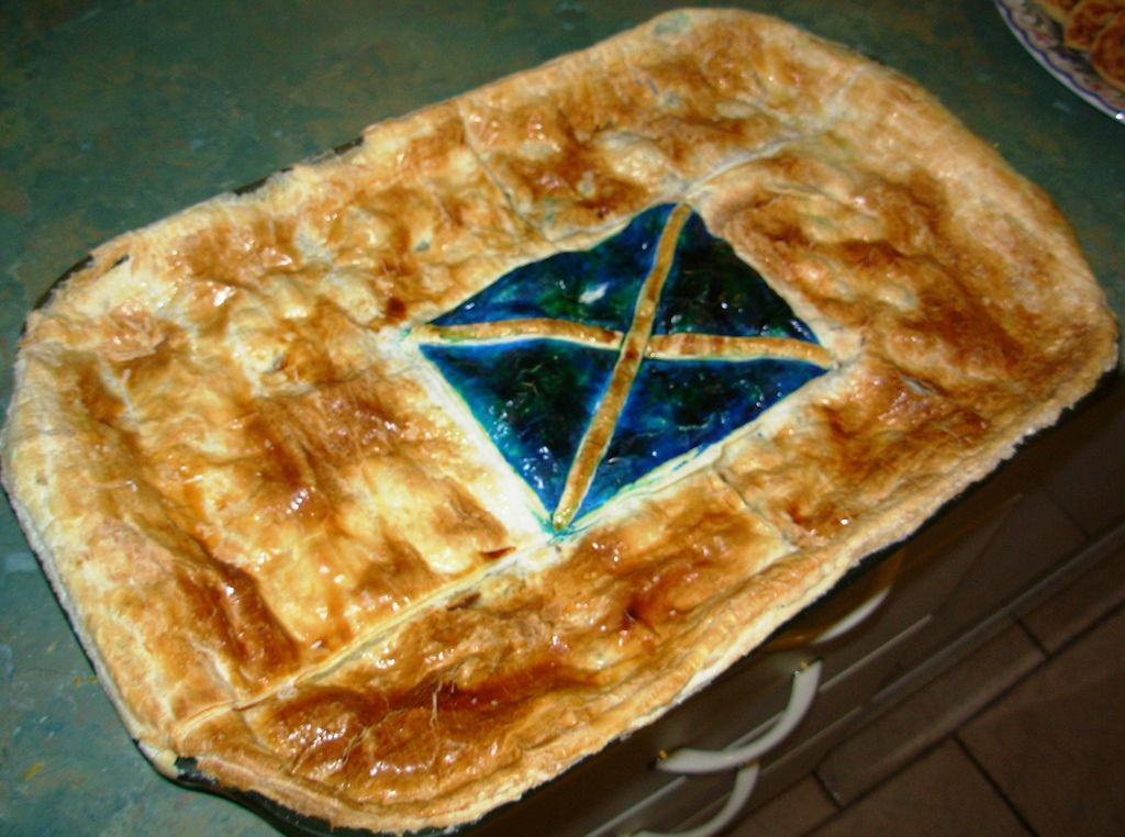 Scottish Steak Pie with the Scottish Flag baked into the ...