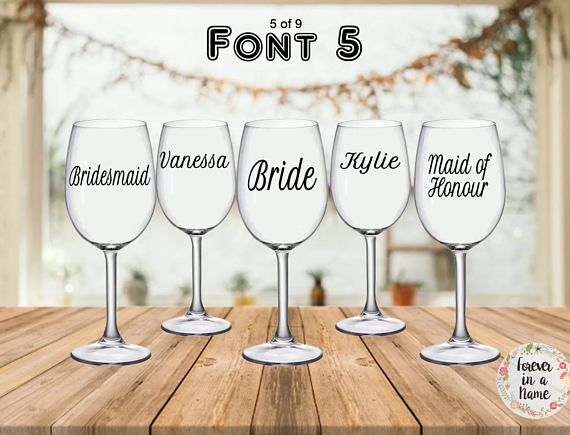 Bridal party or personalised stickers for glasses