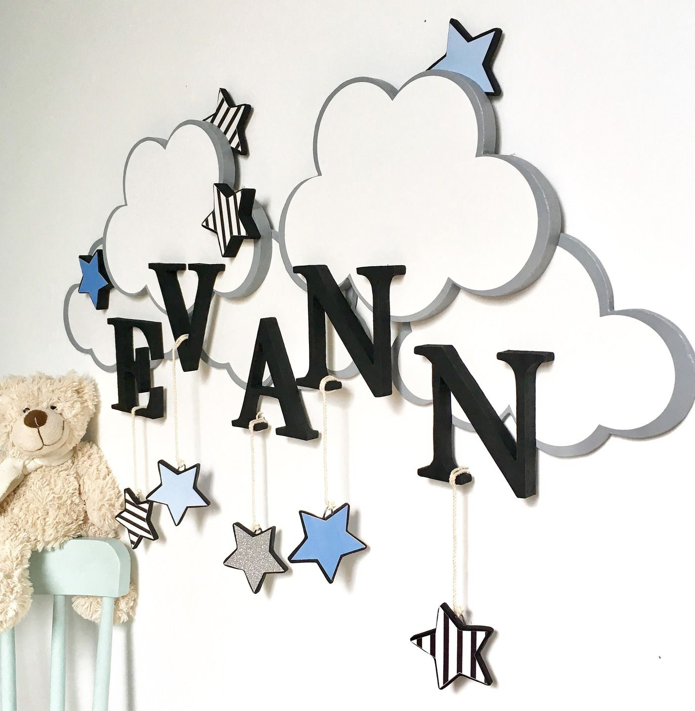 D coration pr nom lettre b b nuage toile d coration Deco chambre bebe nuage