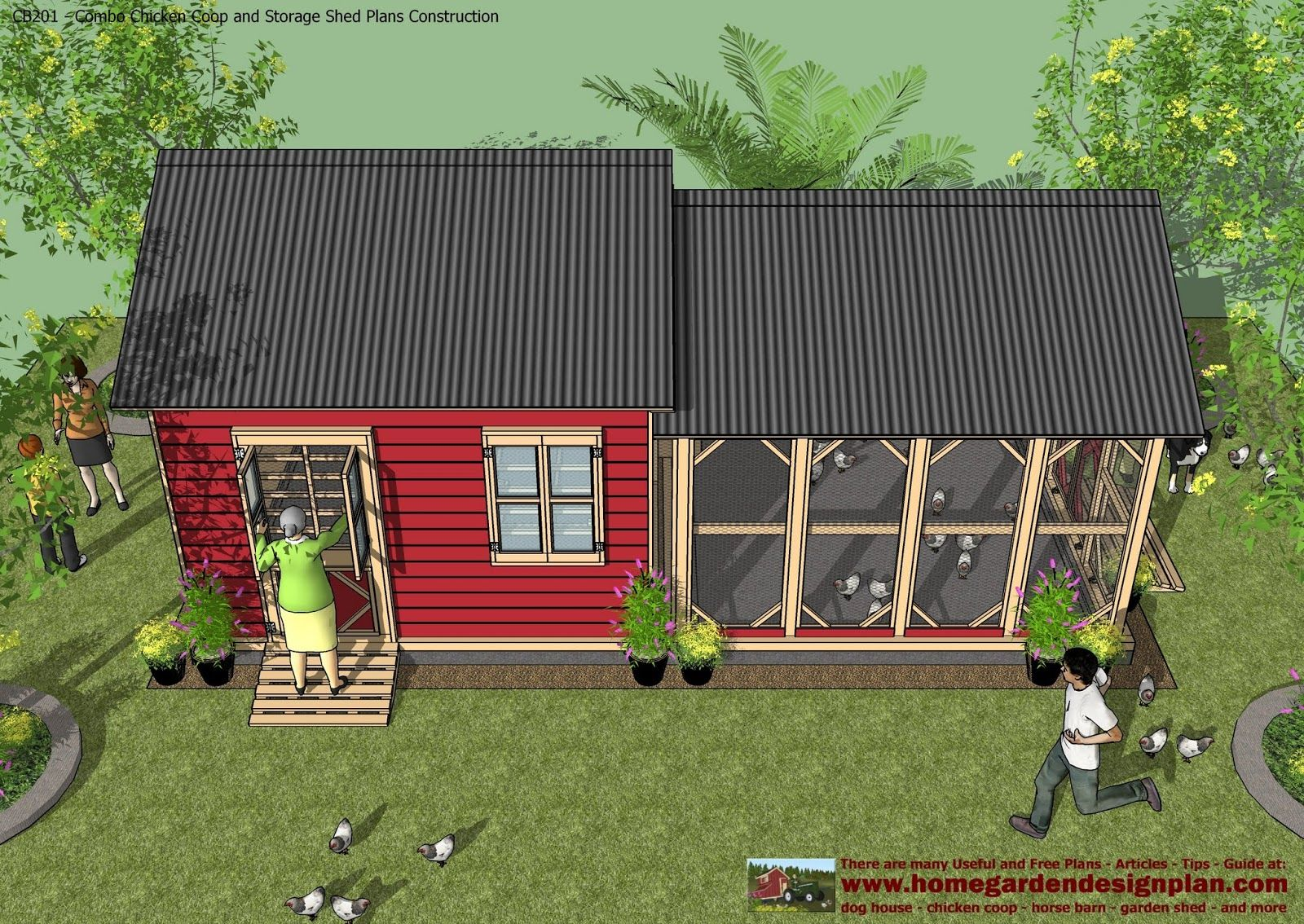 cb201 combo plans chicken coop plans construction garden sheds plans storage sheds - Chicken Co Op Plans And Greenhouse