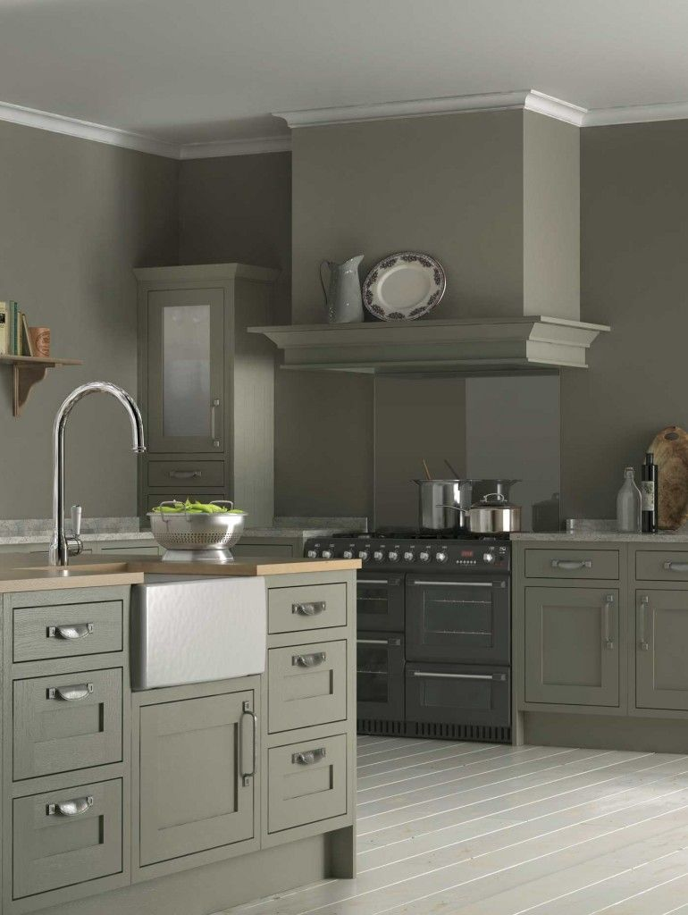 All sage/grey/green kitchen