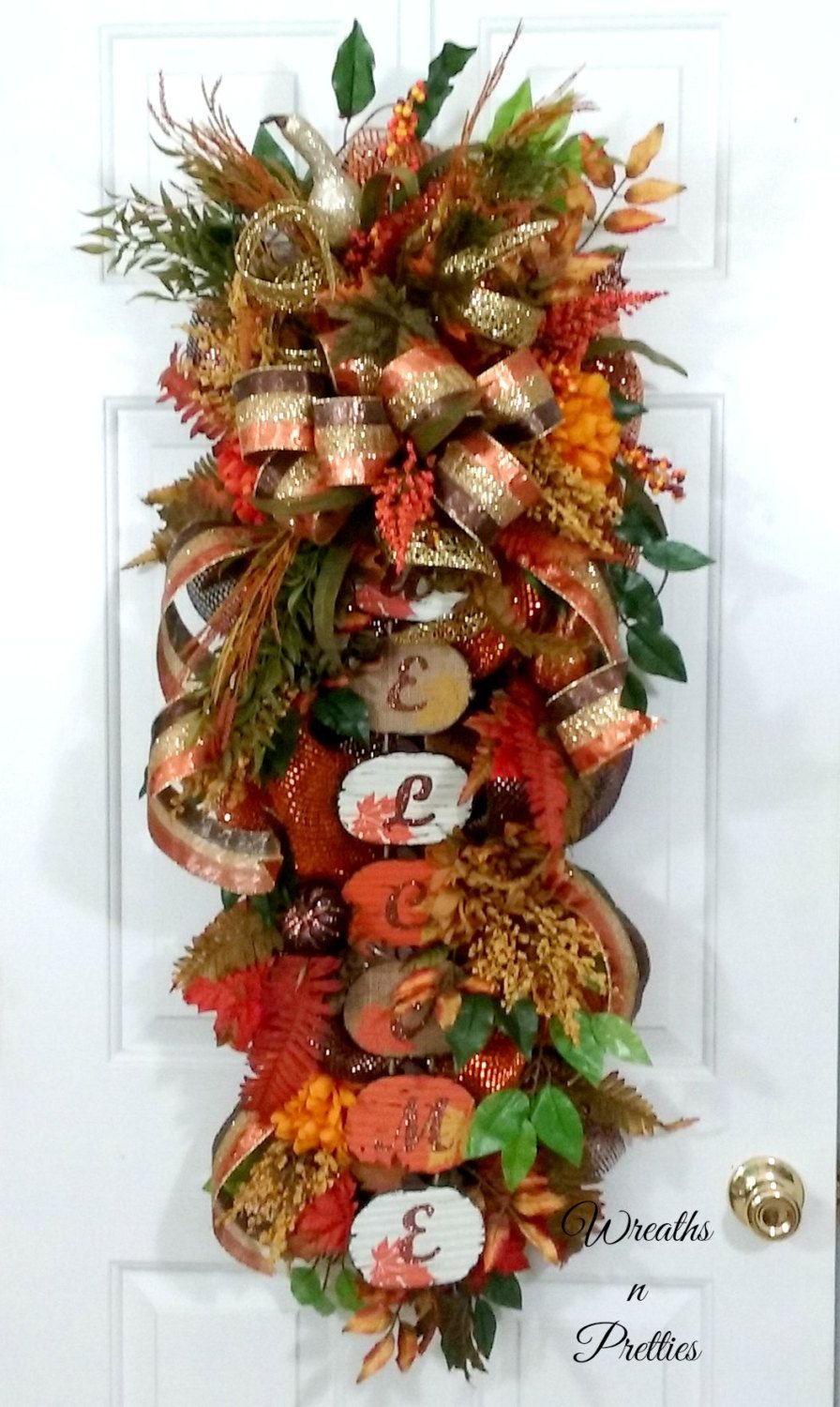 Fall swag, Fall swag wreath, Door swag wreath, Fall swag ...