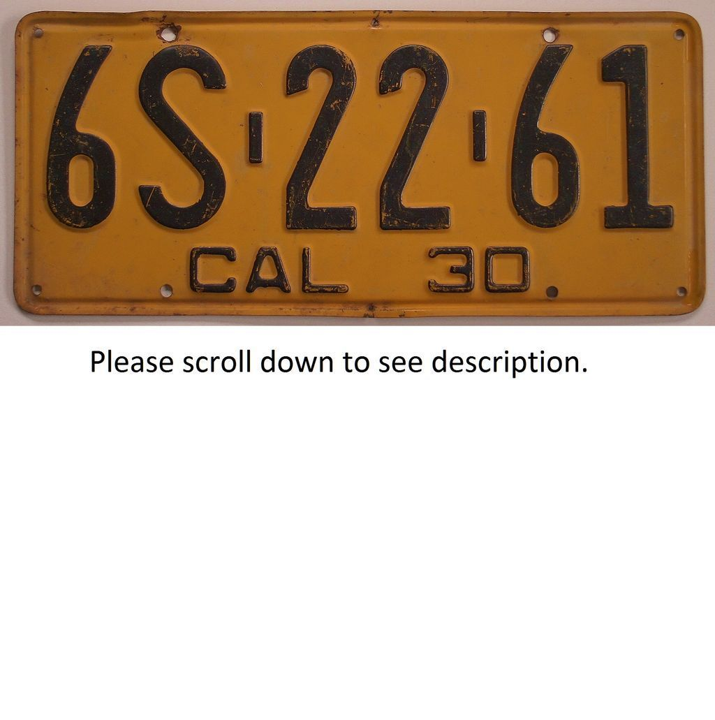 Old California License Plate 1930 from classiclicenseplates on ...