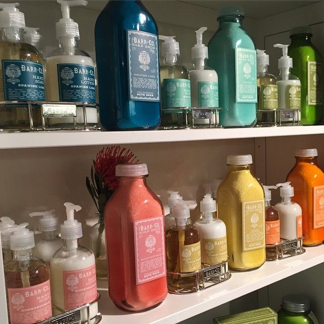 colorful lotion, soaps, and bath salts | Barr Co. | available at www.shopbedandbutter.com