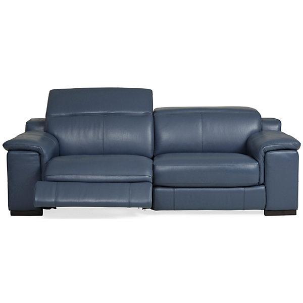 Sky Leather Power Reclining Sofa Ocean Blue Star Furniture
