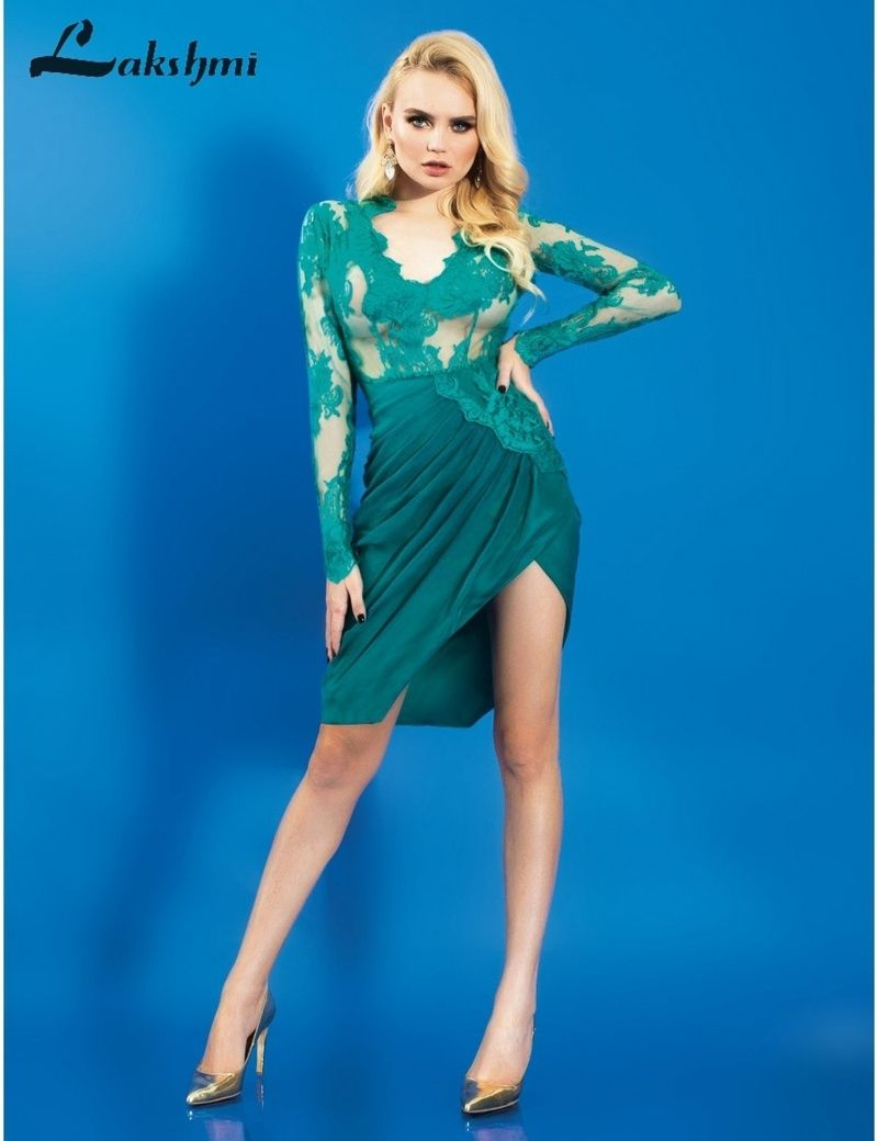 Flannel homecoming dress  Sexy Deep Vneck Illusion Bodice Greeb Long Sleeves Lace Open Back