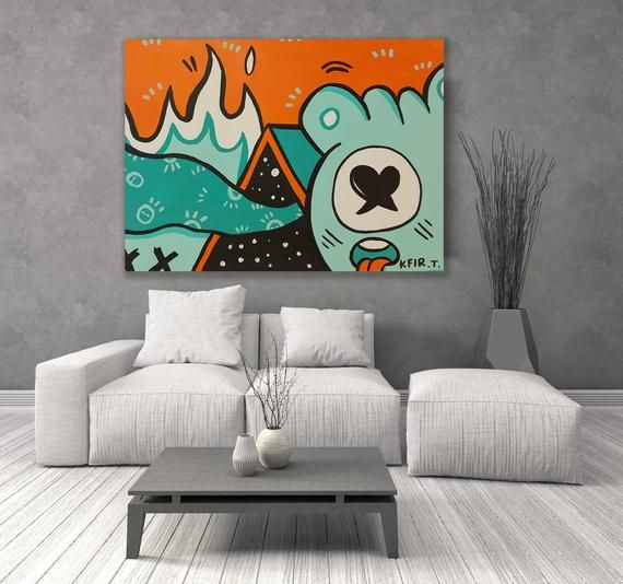 Colorful Wall Decor Wall Art Painting Canvas Wall Decor Etsy In 2021 Pop Art Canvas Graffiti Wall Art Wall Canvas Painting