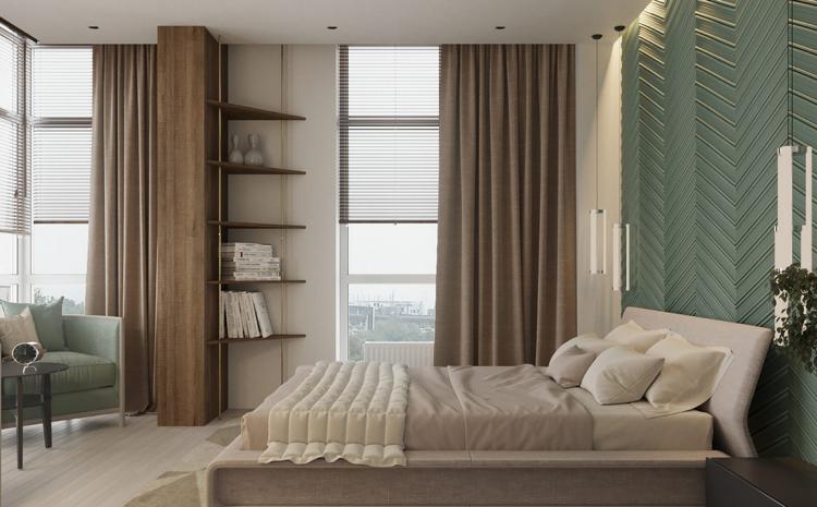 Schlafzimmer Braun Grüne Wandfarbe Creme Bett Polsterung #interiordesign  #decoration #pastel #green #relax