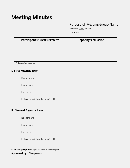 Free Meeting Minutes Template | Meeting Minutes  Minutes Agenda Template