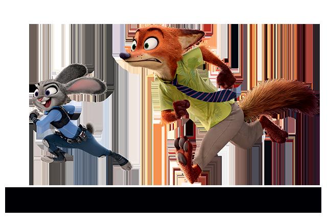 Judy Hopps and Nick Wilde running Disney zootopia