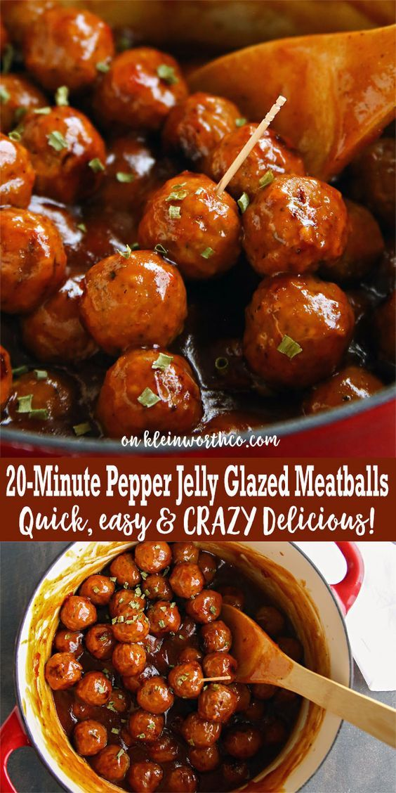 20-Minute Pepper Jelly Glazed Meatballs