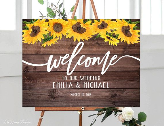 Photo of Sunflowers Wedding Welcome Sign, Rustic Welcome Wedding Sign, Welcome To Our Wedding Sign, Horizontal Landscape Wedding Sign, W240