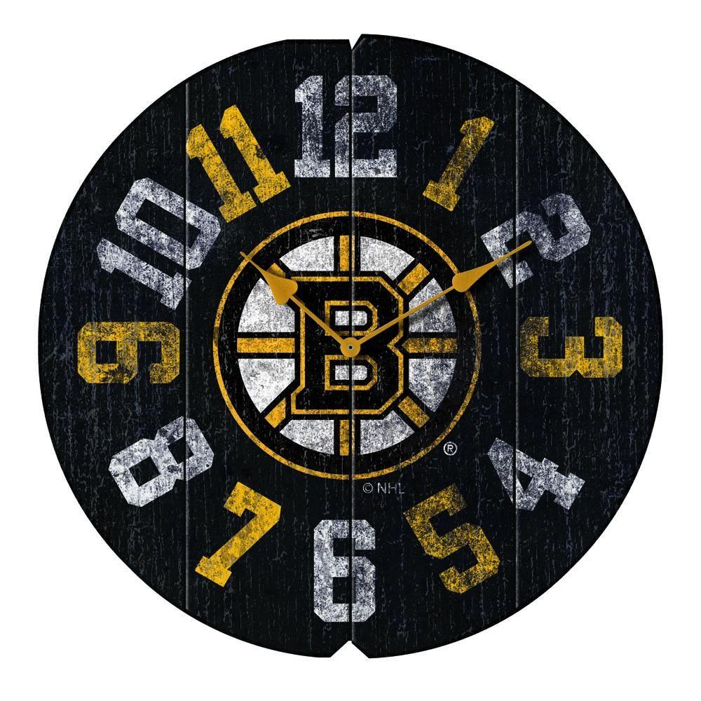 """Boston Bruins 16"""" Weathered Wood Wall Clock Nhl boston"""