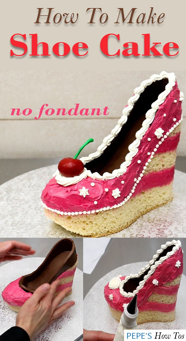 47eff12cbe55 Cute shoe cake idea great for anyone looking for no fondant cake designs  for birthdays and more.