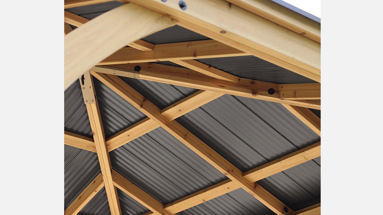 10 X 10 Meridian Gazebo Graphite Roof Yardistry Structures Gazebos Pavilions And Pergolas In 2020 Gazebo 10x10 Gazebo Wooden Gazebo