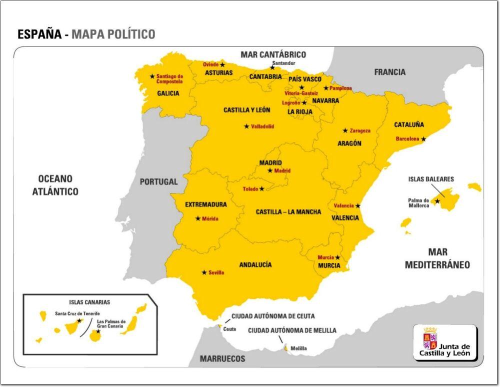 Mapa De Comunidades Autónomas Y Capitales De España Jcyl Mapa Politico Mapas Examen De Geografía