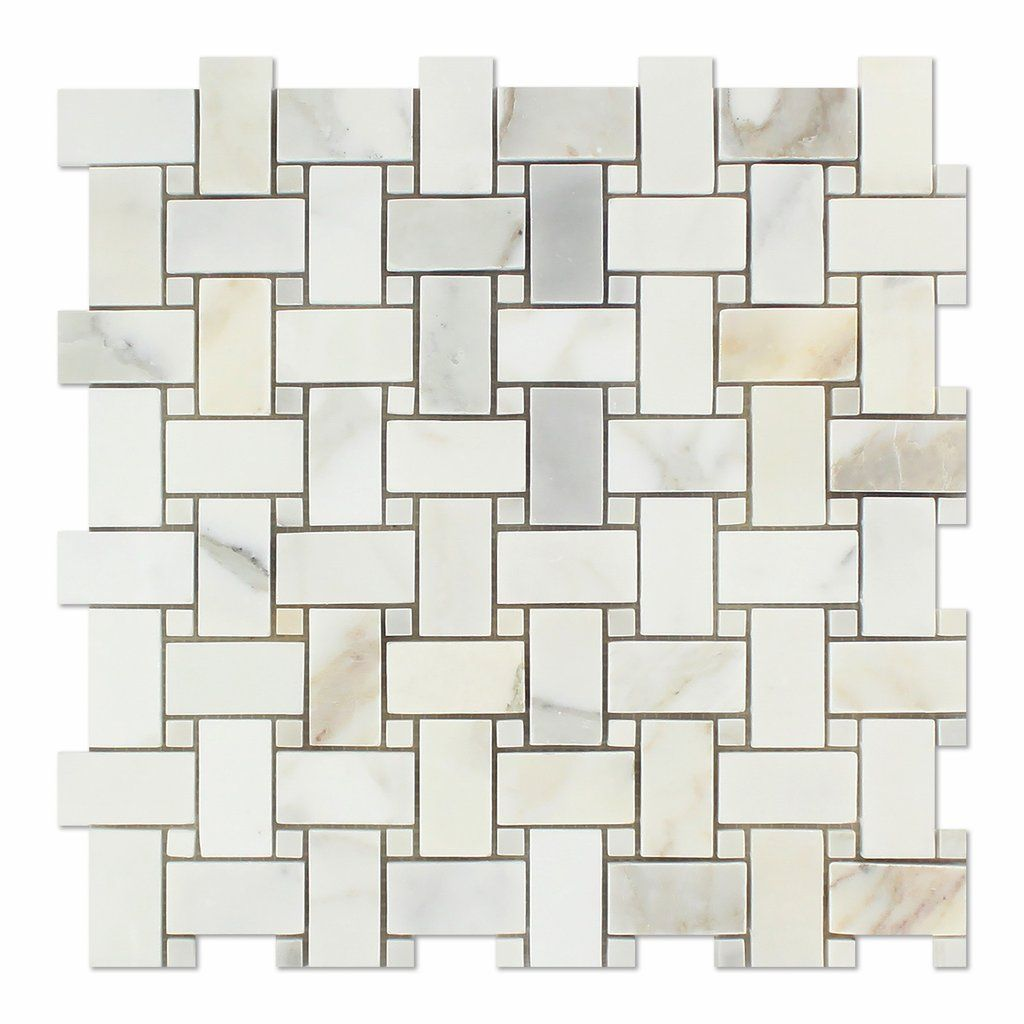 Calacatta Gold Marble Polished Basketweave Mosaic Tile W Calacatta Gold Dots Calacatta Gold Marble Mosaic Tiles Calacatta Gold