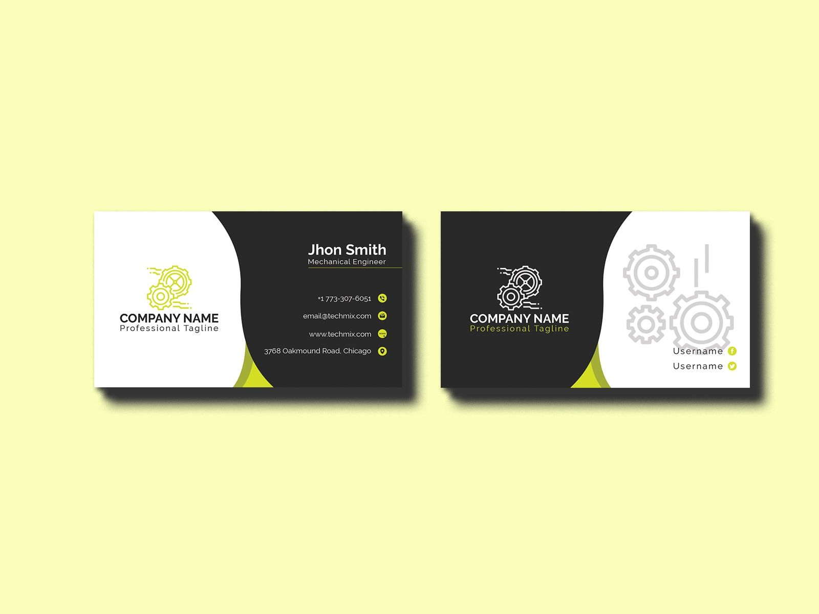 Black White Mechanical Engineer Business Card Business Cards Collection Business Card Design Creative Cool Business Cards