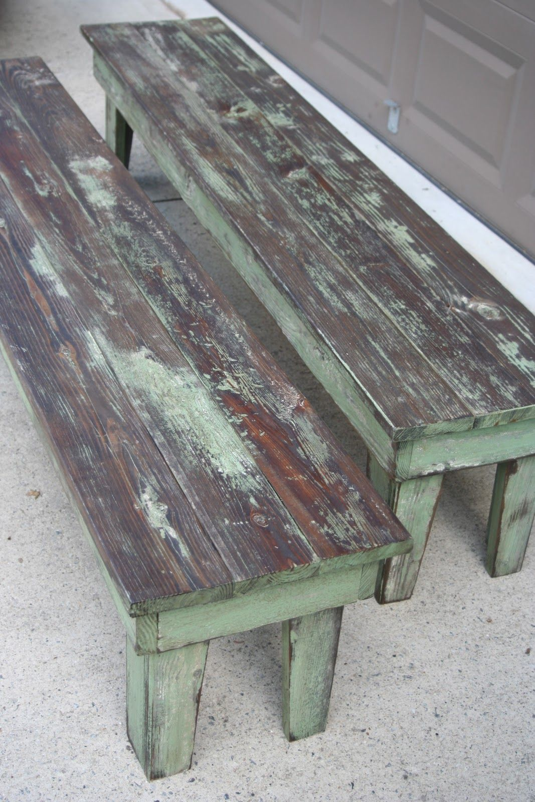Farmhouse Table And Benches   This Post Explains How This Awesome Rustic  Paint Finish Was Achieved
