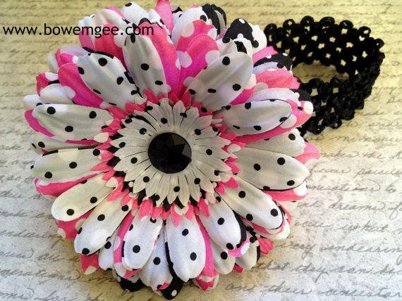 $8.00 Black Pink & White Flower Clip/Headband  www.bowemgee.com #hair #hairclip #flowerheadband