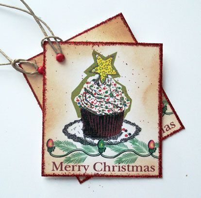 Merry Christmas Cupcake Motif Gift Tags Glitter by wildabouttags, $6.00