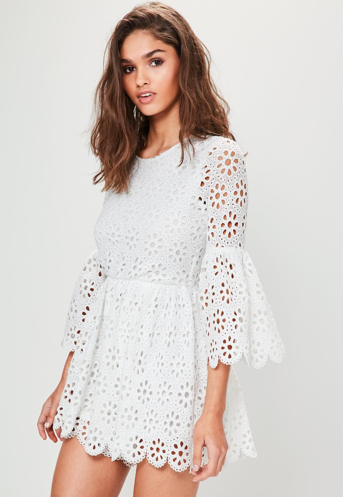 4abb158ecf88b Missguided - White Crochet Lace Flared Sleeve Romper | White | Lace ...