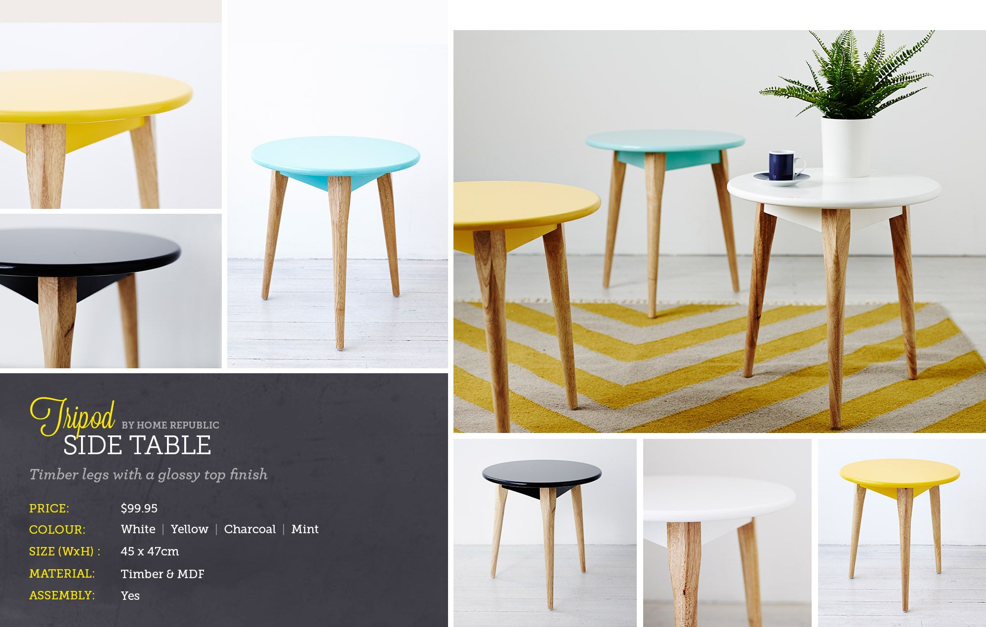 Adairs Furniture Range Side Tripod Table By Home Republic Only
