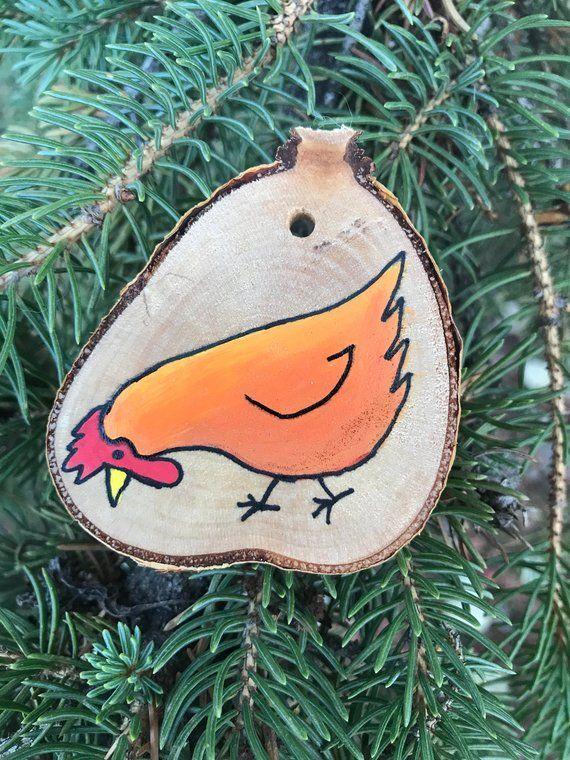 Hand painted Chicken Woodslice Ornament // Handmade