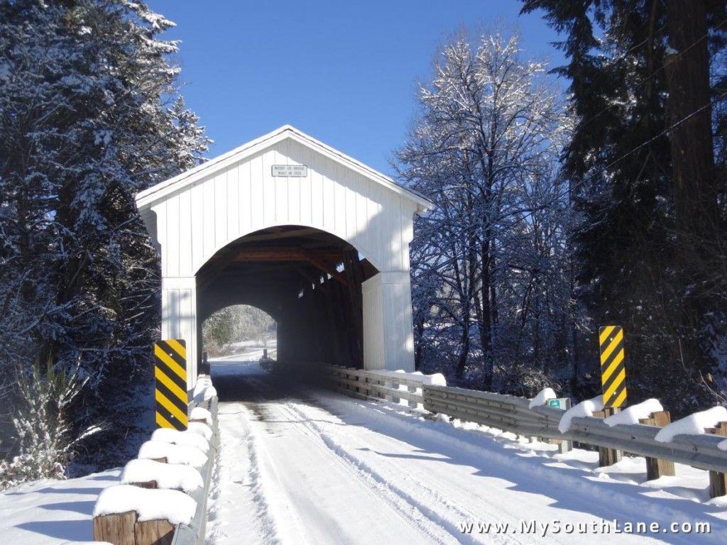 Snow At Mosby Creek Trailhead Covered Bridges Cottage Grove Oregon Washington