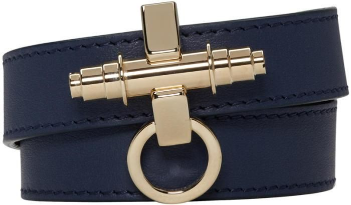 Givenchy Navy Leather Obsedia Braceletclik on Buy Now -Xwalker.com
