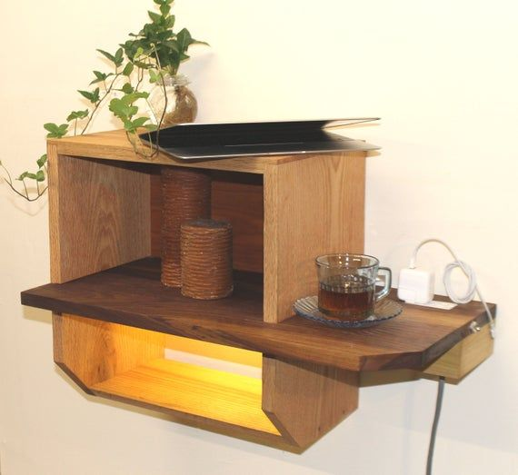 Bedside Table With Usb Outlets Led Lighting Floating Nightstand