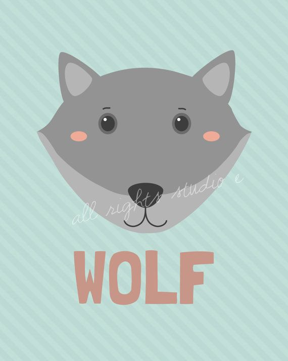 Wolf Nursery Print/Kids room Art Download 8x10