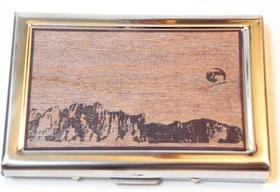 RFID Card Wallet - Moonrise, full moon, mountains, mountain, real wood, hand printed, custom made gift, christmas wallet, business card case