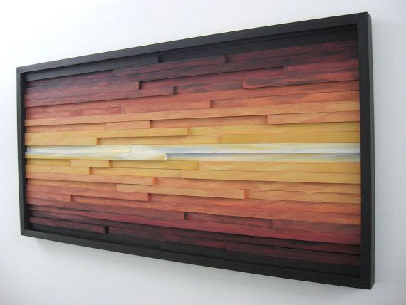 Abstract Landscape Painting on Wood, Wood Wall Art, Wood Sculpture