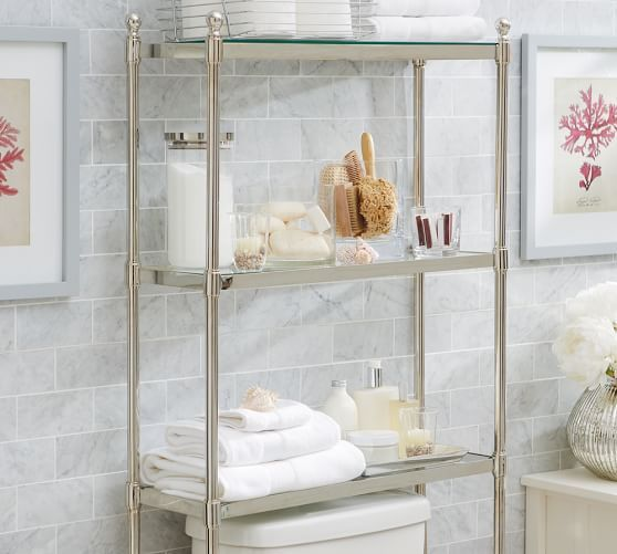Metal OvertheToilet Etagere Pottery Barn Bathroom - Pottery barn bathroom storage for bathroom decor ideas