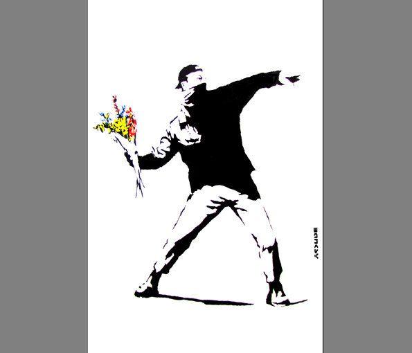 Banksy. MAN FLOWERS. street art graffiti in London.