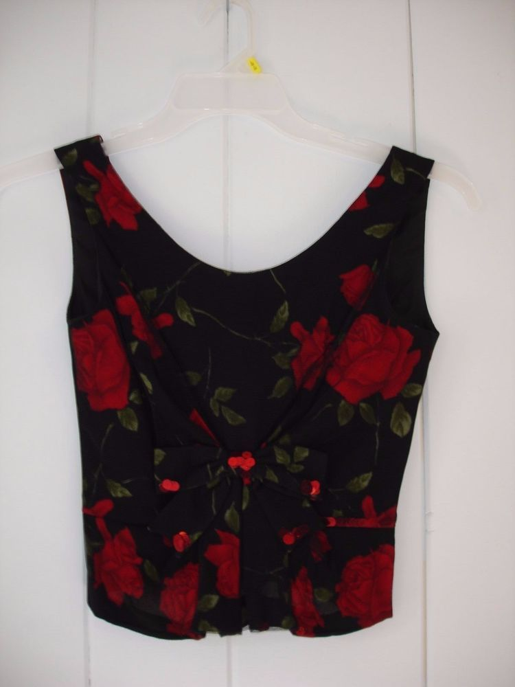 MOSCHINO Cheap Chic Floral Black Top Tank Sleeveless XS 2 4 #Moschino #TankCami #EveningOccasion
