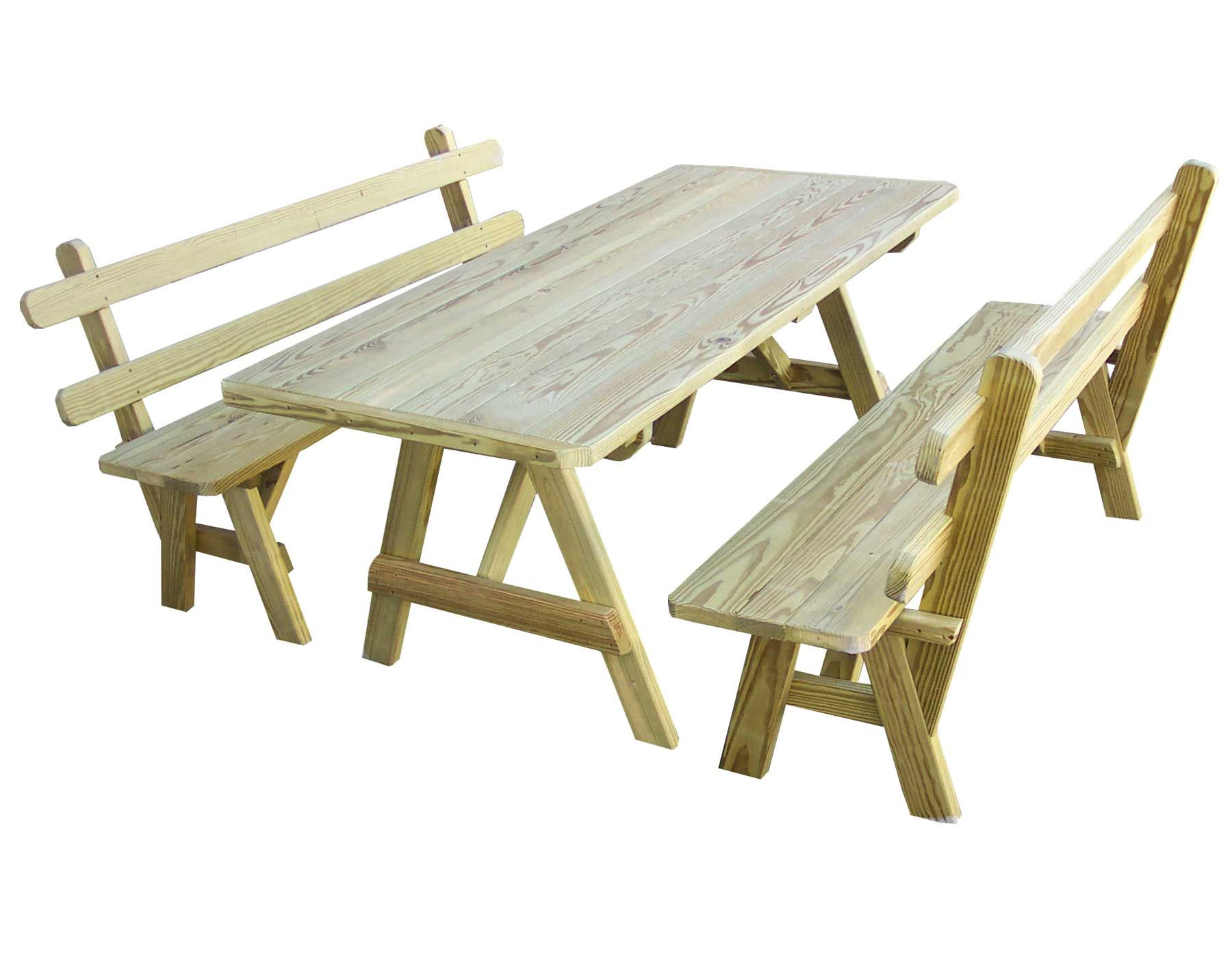 Garden And Patio Outdoor Cedar Wooden Picnic Table With Detached Benches With Back Ideas Picnic Table B Picnic Table Wooden Picnic Tables Picnic Table Bench