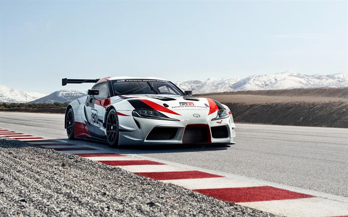 Download Wallpapers Toyota GR Supra Racing Concept, 2018, Racing Car, Front  View,