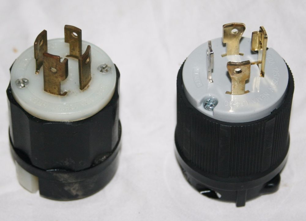2) nema l14-30 locking plugs 3 pole 4 wire grounding generator ...