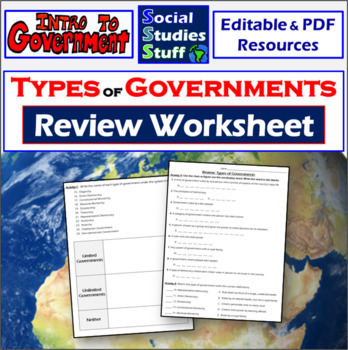 Types Of Government Review Practice Worksheet Distance Learning Practices Worksheets Vocabulary Practice Government Lessons
